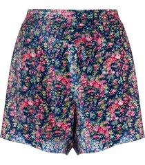 philosophy di lorenzo serafini velvet floral shorts - blue