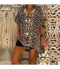 zanzea mujer de la manga del cortocircuito del leopardo tapas de las señoras de la blusa floja ocasional de camisas más del tamaño -amarillo