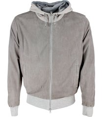 barba napoli just model suede jacket with hood with cotton jersey interior and zip