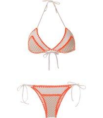 brigitte crochet trim bikini set - neutrals