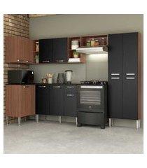 cozinha completa com armário e balcáo com tampo 5 peças pequim zouk multimóveis carvalho avelá/preto