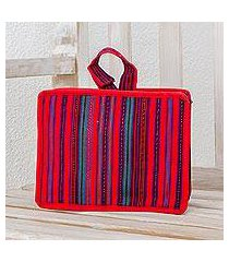 cotton cosmetic bag, 'poppy stripes' (guatemala)