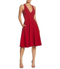dress the population catalina fit & flare cocktail dress, size x-small in garnet at nordstrom