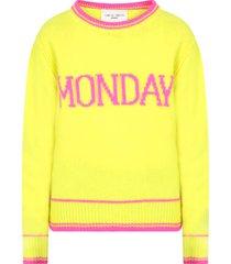 alberta ferretti neon yellow girl sweater with fucshia writing