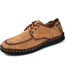 scarpe casual confortevoli in pelle microfibra cucite a mano da uomo
