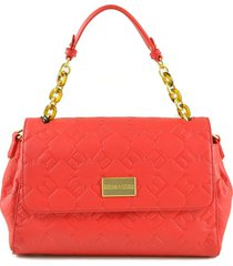 ermanno scervino red embossed e medium satchel bag