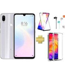 celular xiaomi redmi note 7 128gb blanco + protector pantalla + audífonos + acrilico goma
