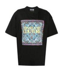 versace jeans couture camiseta com estampa de logo gráfico - preto