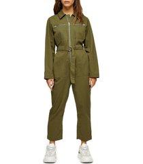 petite women's topshop mabel utility jumpsuit, size 12p us - green