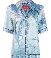 f.r.s for restless sleepers printed silk shirt - blue