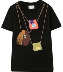 fendi black t-shirt with bags print
