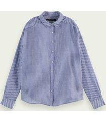 scotch & soda long sleeve striped button up shirt
