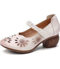 socofy décolleté d'orsay con cinturino alla caviglia regolabile intrecciato floreale con ritaglio in pelle