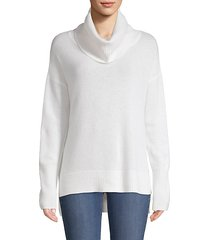 cowlneck cashmere high-low sweater