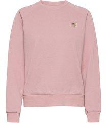 w. mini flag badge sweat sweat-shirt tröja rosa svea