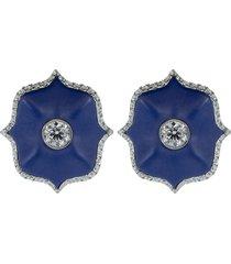 blue ceramic mini lotus earrings