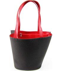 bolsa sacola em material sintético  maria adna preto e vermelho