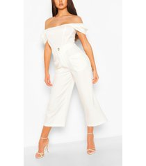 button front pocket side longline culottes, ivory