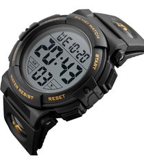 reloj deportivo digital impermeable skmei 1258 negro dorado