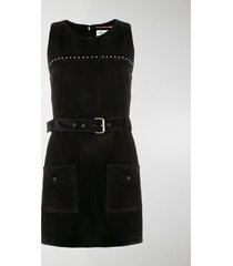 saint laurent calf leather belted studded dress