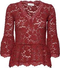 t-shirt 3/4 s blouse lange mouwen rood rosemunde