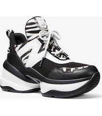 mk sneaker olympia in materiale misto - nero/bianco (nero) - michael kors