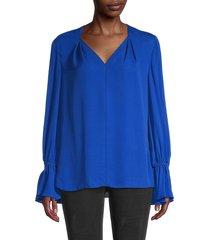 kobi halperin women's kitty silk blouse - cobalt - size m