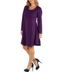 24seven comfort apparel simple long sleeve knee length flared plus size dress