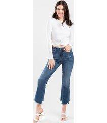 harper heritage asymmetrical ankle jeans - medium wash