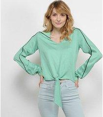 camisa acostamento manga longa amarração feminina