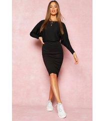 gerecyclede geribde midi-jurk met col, zwart