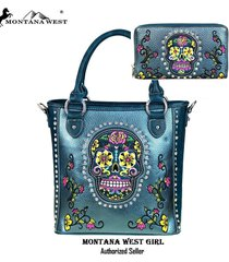 3 clrs  concealed carry wallet & purse montana west sugar skull bag set