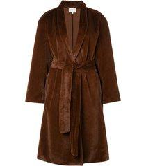 vince belted faux-fur coat - brown