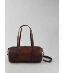 bolsa feminina cilindro média texturizada com alça removível marrom