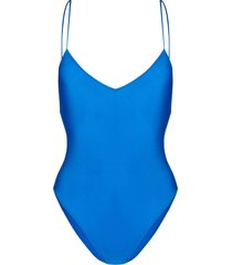 mc2 saint barth lurex one-piece swimsuit - blue