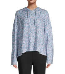 for the republic women's ditzy floral-print hooded top - blue - size s