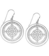 essentials orbital fancy-cut circle drop earrings in fine silver-plate