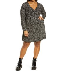 plus size women's bp. floral sweetheart neck long sleeve knit dress, size 1x - black