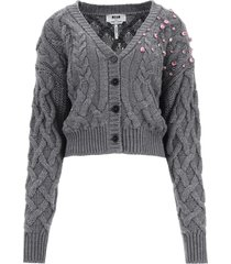 msgm cardigan with crystals