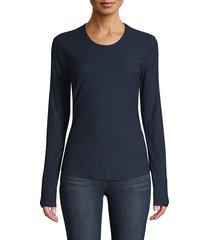 james perse women's long-sleeve cotton-blend tee - black - size 4 (xl)