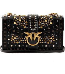 pinko love classic icon new studs black crossbody bag