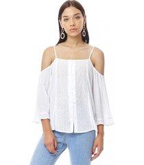 blusa pabilo off shoulder mujer blanco corona