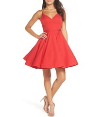 women's ieena for mac duggal fit & flare cocktail dress, size 2 - red