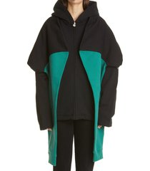 women's martine rose contrast tie sleeve cotton hoodie, size small - black
