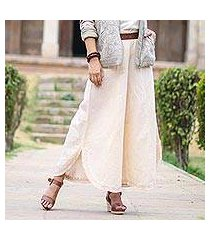 cotton and linen blend wide-leg pants, 'lucknow dreams' (india)