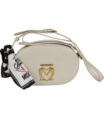 love moschino scarf trim logo plaque zip-around shoulder bag