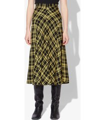 proenza schouler crinkled plaid skirt black/faded neon yellow 8