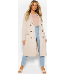 double breasted tonal flannel wool look coat, stone