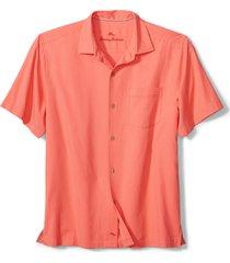 men's tommy bahama royal bermuda standard fit silk blend camp shirt, size x-large - orange