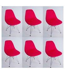 kit com 06 capas para cadeira de jantar eiffel wood vermelho